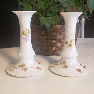 Mid century Limoges porcelain candlesticks
